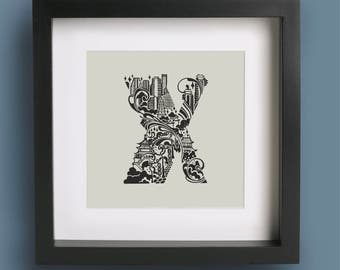 Xian City Mini Print, Alphabet Wall Art, Hand Drawn Type Typography Illustration Print, City Skyline Office Decor Screenprint