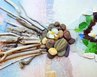 Natural Beach combing Collection of 100 Driftwood Pieces, Seaglass , Pottery and Rocks for Home Decor BC100
