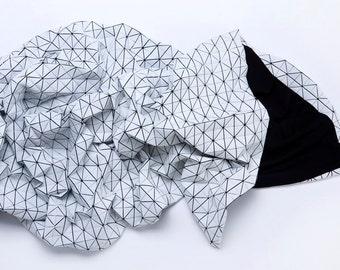 Black and white origami geometric throw 180x180 cm/ 70x70 inch. Printed origami plaid. Modern texture home decor accessory, Fap throw