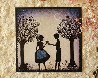 Postcard - Lovers silhouette - Retro - romantic - Miss Shadow - Le rendez-vous