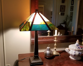 Craftsman Style Mission Table Lamp, Stained Glass Repro Lamp