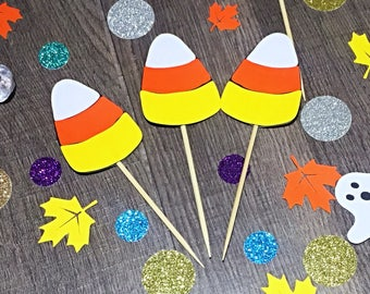 Candy Corn Cupcake Toppers/ Halloween Cupcake Toppers/Halloween Toppers