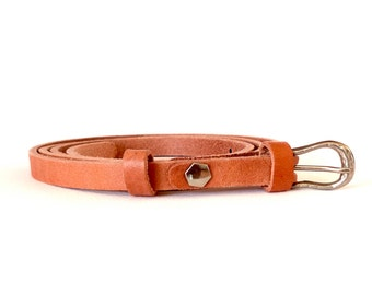 1 cm - 2/5 inch skinny leather dress belt, thin women's belt, tan leather belt