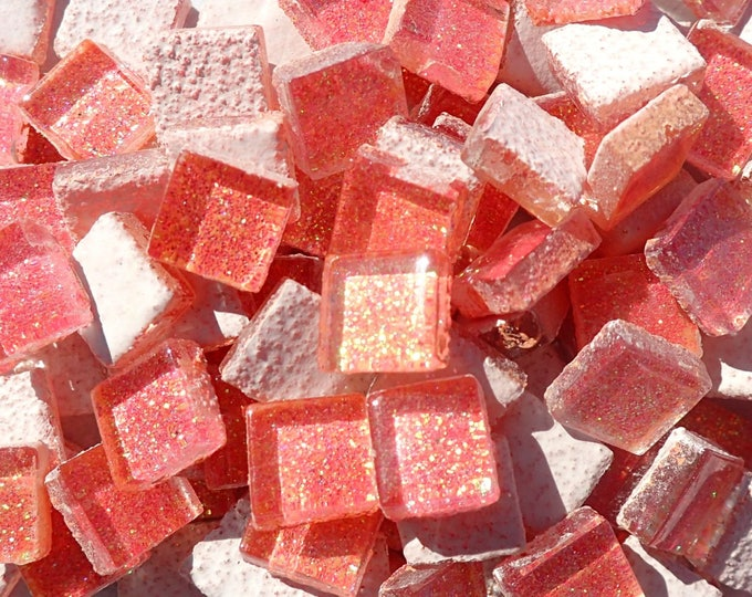 Bubblegum Pink Tiny Glitter Tiles - 1 cm - Use for Mosaic Jewelry Crafts - 100 Metallic Tiny Glass Tiles