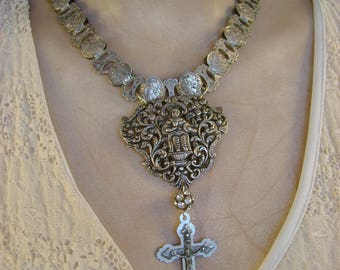 Saintly - Antique Victorian Bookchain Sterling  Silver Figural Buckle Crucifix Recycled Assemblage Jewelry Statement Necklace