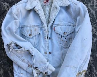 Vintage Levi's sherpa denim jacket made in USA Thrashed