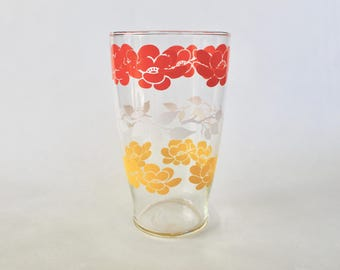 Vintage 1960s Orange, Yellow and White Floral Patterned Drinking Glass!