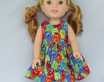 Cats Galore  Doll Dress Handmade To Fit 14.5 Inch Dolls Like Wellie Wishers