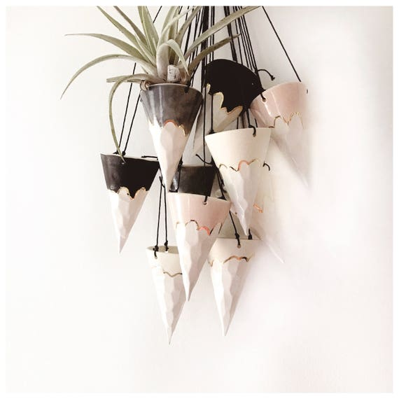 Hanging Cone Planter Snow Mountain 22k Gold  Made To Order