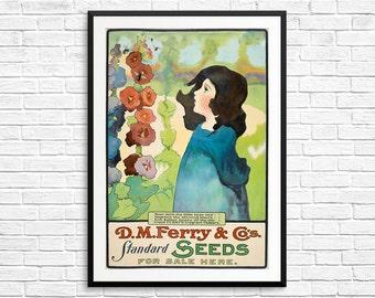 Gardening gift, Seed packet, seed packet art, vintage seed packet, vintage seed envelope art, farm poster, garden art, garden decor, xmas