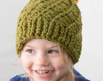 Crochet Baby Hat, Crochet Hat, Handmade Hat, Kid's Hat, Crochet Kid's Hat, Green Hat, Pom Pom Hat, Winter Hat, Toddler Beanie, Adult Beanie