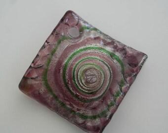 3.5 cm green, purple and silver Lampwork Murano glass pendant