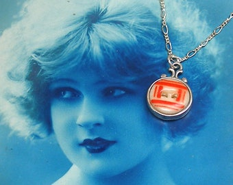 Antique China BUTTON necklace, Victorian stencil with red on sterling chain. One-of-a-kind button jewellery.
