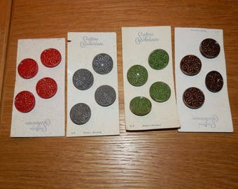 Vintage Glass Shank Buttons by Schwanda-Swirl Pattern with Accent