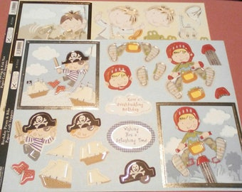 Two A4 Kanban diecut Paper Topper Sheets (Pirate, Frogs, Bike and Birthday Swing)