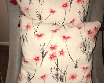 Decorative Pillows: Cream with pink and red blossoms
