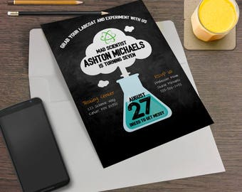 Mad Scientist Printable Birthday Party Invitation - Science, Laboratory, DNA, Chemistry Experiments, Science Lab, Lab Experiments, Testing