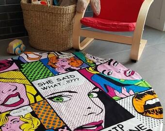 Pop art print playmat/ Baby playmat/ Round playmat