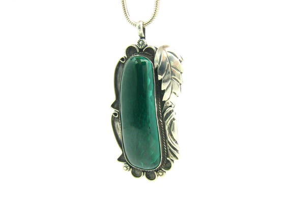 Vintage Huge Native American Style Malachite Pendant Necklace, Sterling Silver Leaf Overlay