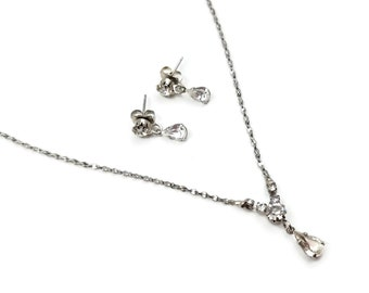 Avon Silver Plated Crystal Rhinestone Necklace Earrings Set - Wedding Jewelry, Brides Jewelry, Gifts for Her
