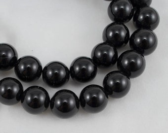 10mm Black Agate Beads, Grade A Round, 15.5 Inch Strand, Gemstones, Beads, Findings