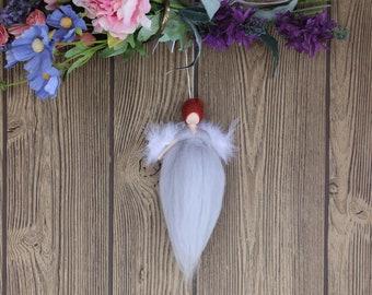 Morilla Luck Angel; Needle Felted Doll; Grey Angel; Fairy Dolls; Waldorf Inspired