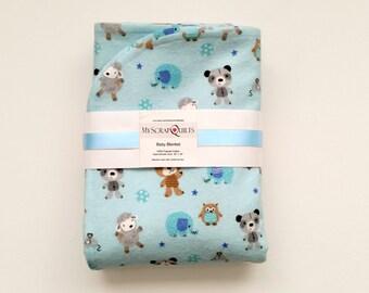 Flannel Baby blanket - Receiving Blanket - Swaddle Blanket - Baby Boy Blanket