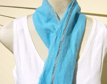 Bright Turquoise Long Scarf Silver Stripe Cotton Fringe