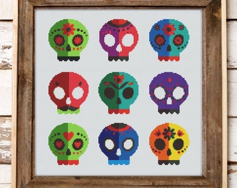 Sugar Skulls Halloween Sampler Modern Counted Cross Stitch Pattern // Instant PDF Download