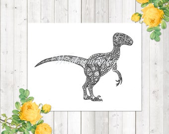 Dinosaur Coloring Page, Velociraptor Coloring Page, Adult Coloring Page, Printable Coloring Page, Kids Coloring Page, Dinosaur Party Favors
