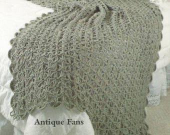 Crochet Antique Fans Afghan Pdf throw blanket bed cover lap blanket /OhhhMama/ vintage pattern instant download pdf