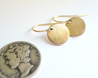 Gold circle drop earrings Gold coin earrings Small gold drops Little gold earrings Round gold earrings Tiny gold circles 14K gold fill wires