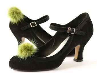 Shoe Clips Olive Green Mink Fur Pompon