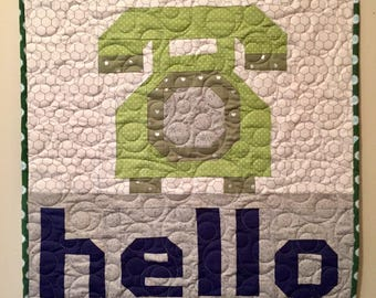 Hello Quilted Wall Hanging/ Table Topper
