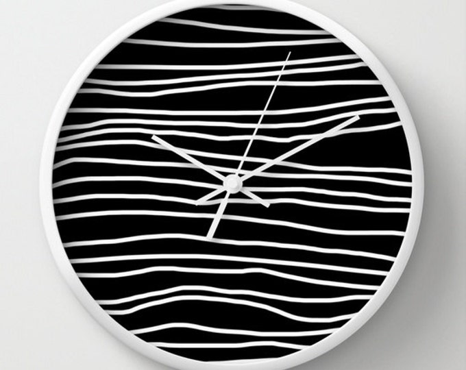 Wall Clock - Black and White striped Clock - Unusual Wall Clock - Choice of Frame Color - Made to Order