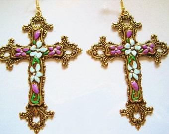 Large cross earrings Byzantine very large handpainted statement earrings Art Nouveau vintage style Art Deco baroque cross gothic earrings