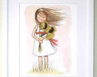Children's Wall Art Print - Windy Sunflower Girl Illustration with antique Pink background - Girl's room decor- Customizable Hair Color