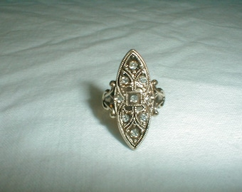 esposito ring vintage victorian revival gp filigree cz crystals gold clear edwardian design small size ring j esposito jewelry sz. 3-1/2