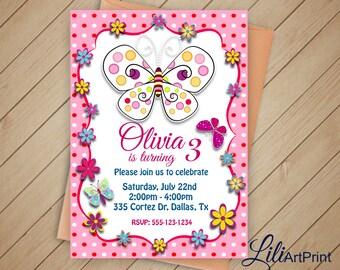 Butterfly Invitation, Butterflys Birthday Invitation, Butterflys Invite, Butterflys Birthday Party, Digital file 2