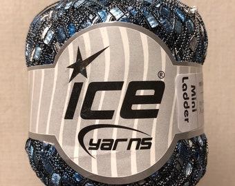 ICE Yarns Mini Ladder Yarn Blue Silver one skein