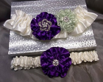 Purple and Light Celedon Green Rose on Ivory Wedding Garter Set , Bridal Garter with Flowers and Rhinestones, Gift Boxed
