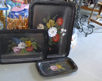 Set of 3 hand painted wood trays - black with floral