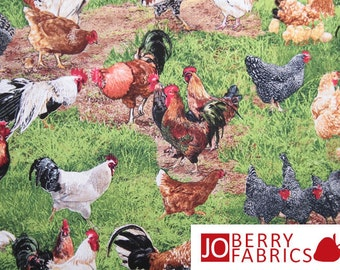 Chickens and Roosters Fabric