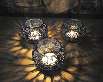 Wedding Candle Holders Votive Holders Crochet Table Centerpiece Set of 5, Wedding Lighting, Navy blueTable Decor,  Party Wedding Decoration