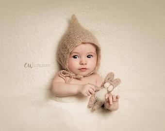 Mohair Silk Crochet/Knitt Pixie Bonnet - match color- Photography Prop