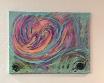 Untitled 18x24 Original Acrylic Abstract Cosmic Series