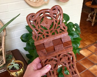 Vintage carved wood book stand