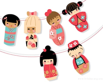 DIY Printable Kokeshi Dolls Banner PDF digital download Scrapbook Party Decorations