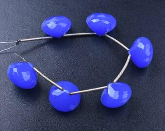 13mm-3 Matched Pairs Briolettes-Cobalt Blue Quartz Super Finest Quality-Cobalt Quartz Faceted Onion Shape Briolette Beads(2328)