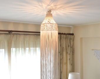 Macrame ceiling light with natural cotton rope. Boho, bohemian, vintage, modern, lighting, fiber art